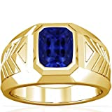 18K Yellow Gold Emerald Cut Blue Sapphire Mens Ring (GIA Certificate)