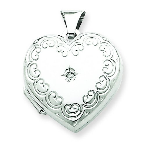 Sterling Silver Diamond Heart Locket. Metal Wt- 1.64g. Carat Wt- 0.01ct.