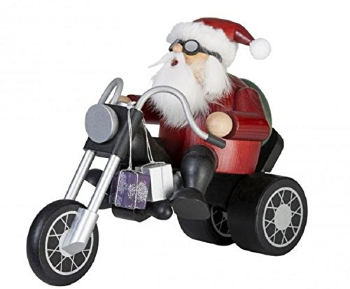 KWO Chubby Santa Riding Trike Motorcycle German Wood Christmas Incense Smoker