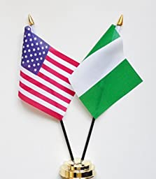 United States of America & Nigeria Friendship Table Flag Display 25cm (10\