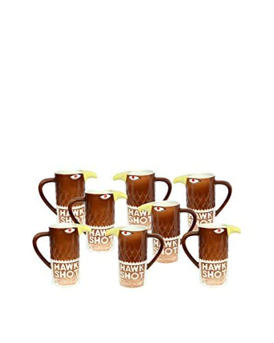Uptown Down Previously Owned Set of 8 Smirnoff Hawk Ceramic Shot Mugs