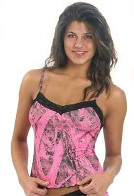 Weber's Naked North Pink Camo Lace-Trimmed Camisole