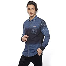 Apris Mens F/slv Cotton Shirt-NAVY (S-3286) (L)