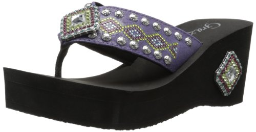 Grazie Women'S Frontier Wedge Sandal,Purple,11 B Us front-614394