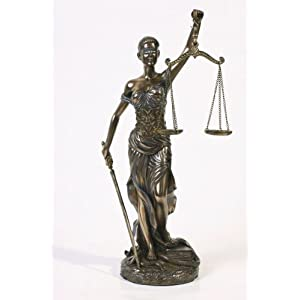 Lady Justice Blind Scale of Justica Bronze Statue 12""