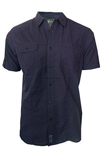 dissident-sigma-uomo-maniche-corte-camicia-coi-bottoni-cotone-blu-navy-scuro-100-cotone-uomo-l-torac