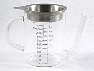 Danesco 2 Cup Glass Gravy Separator wth Stainless Steel Strainer by Steel Function