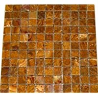 4x4 Sample of 1x1 Multi Brown Gold Polished Mosaic Tiles