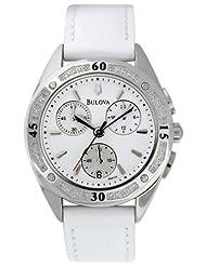 Bulova Women's 96R119 Diamond Accented Case Bracelet Silver White Dial Watch