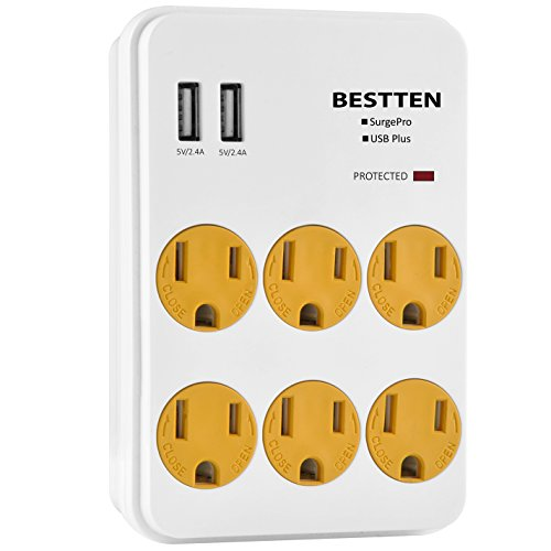 Bestten USB Wall Outlet Surge Protector with 2 USB Charging Ports, 6 Outlets and Safety Covers, ETL Listed (Office Wall Cover compare prices)