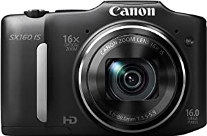 Canon PowerShot SX160 IS Digitalkamera (16 Megapixel, 16-fach opt. Zoom, 7,5 cm (3,0 Zoll) LCD) schwarz