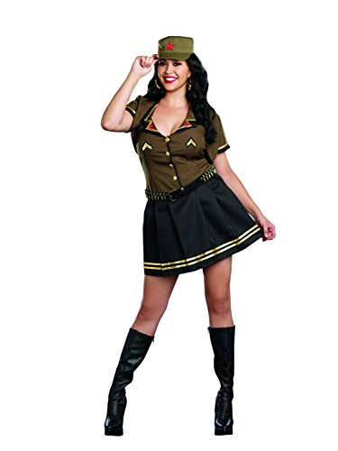 [Dreamgirl Women's Army Brat Military Plus-Size Costume,Multi, 1X/2X] (Adult Army Brat Costumes)