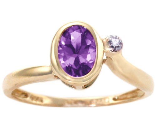 14K Yellow Gold Simply Oval Gemstone and Diamond Promise Ring-Amethyst, size8