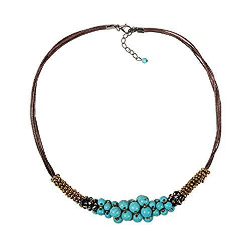 Zonman Pretty Design Beautiful Tibetan Style Turquoise Necklace with Handmade Crystal