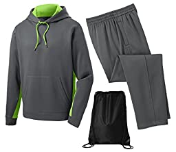 Sport Tek Men\'s Sport Wick Fleece Tracksuit, Top: 4XL / Bottom: 3XL, Lime/Grey