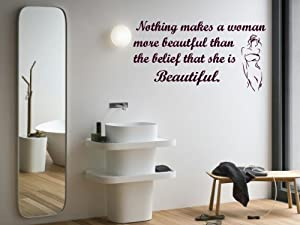 Wall Mural Vinyl Sticker Decal Nothing Makes Woman Beautiful Quote A1578