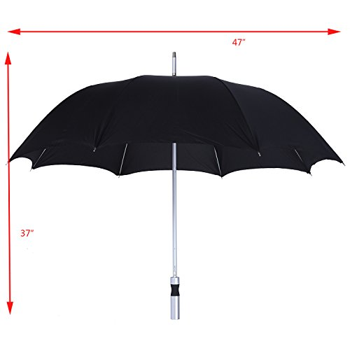 Black Umbrella - Large Automatic Silver Handle All Weather Parasol - 37