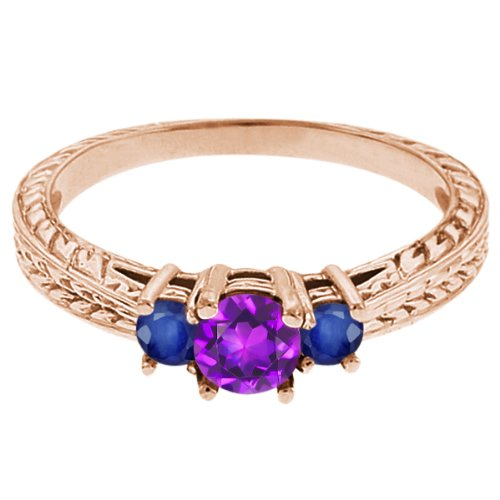 0.62 Ct Round Purple Amethyst Blue Sapphire 18K Rose Gold 3-Stone Ring