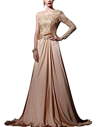 Kingmalls Womens Champagne One Shoulder Tie Back Long Sleeve Dress