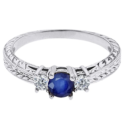 0.60 Ct Round Blue Sapphire G/H Diamond 18K White Gold 3-Stone Ring