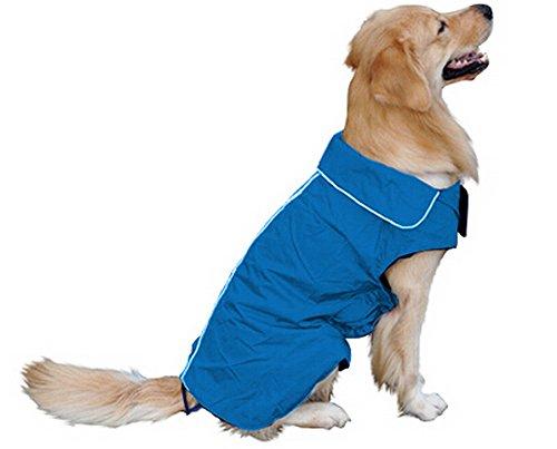 Hundemantel Regenmantel Hund Hundebekleidung Hundejacke Wintermantel Regenjacke-Blau (L)