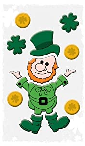 "Happy St. Patricks Day Decorations: Reusable Window Gel Clings, 6"" x 12"" (Leprechaun and Gold) from Impact Innovations"