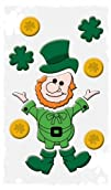 """Happy St. Patricks Day Decorations: Reusable Window Gel Clings, 6"""" x 12"""" (Leprechaun and…"""