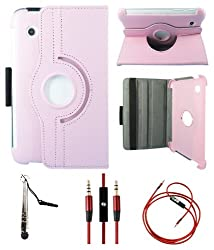 DMG Full 360 Rotating Book Stand Cover Case Pouch for Samsung Galaxy Tab 2 P3100 with Aux Cable with Mic, Stylus, DMG Wristband -Pink