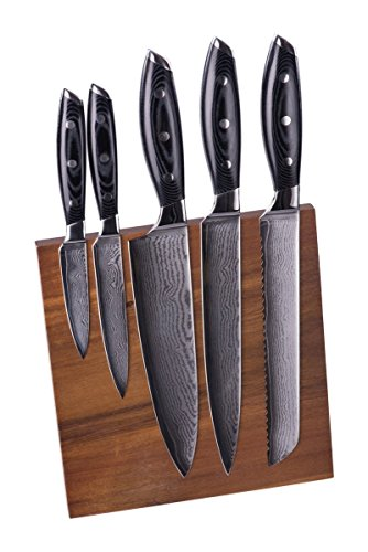 Premium Professional-Grade 67 Layer Damascus Steel 5 Piece Chef Knife Set With Carved Magnetic Knife Block