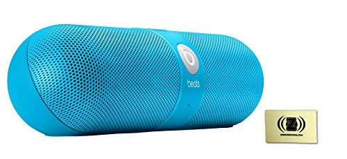 Beats By Dr. Dre Neon Blue Pill Portable Speaker Bundle With Zorro Sounds Cleaning Cloth