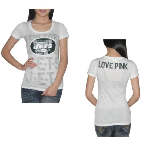 Pink Victoria's Secret Womens NFL New York Jets T Shirt Medium White at Amazon.com