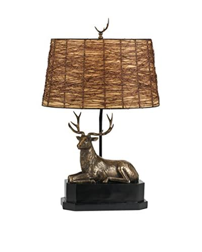 Bristol Park Lighting Deer Table Lamp With Twig Shade, Cast Bronze
