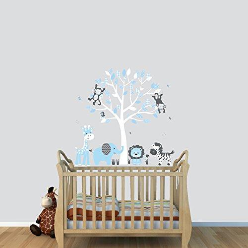 Fabric Tree Wall Stickers, Boy Animal Wall Stickers, Baby Blue