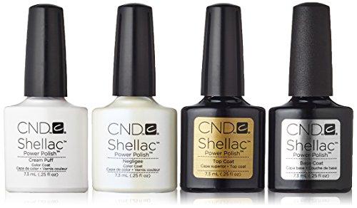 CND Shellac Cream Puff Vestaglia più Top Base Coat Coat oltre 7,3 mL Inoltre, 1er Pack (1 x 29 ml)