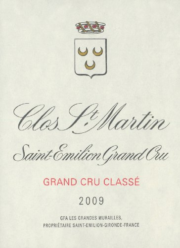 2009 Clos St. Martin St. Emilion Grand Cru Bordeaux 750 Ml