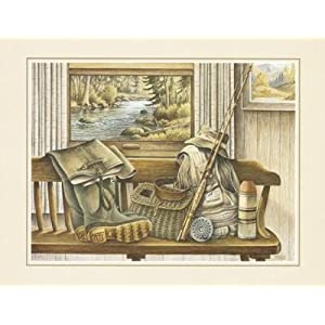 Fishing Gear Art Poster PRINT Ron Jenkins 20x16