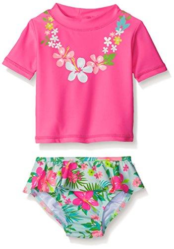 Carter's Baby Short Sleeve Lei Rash Guard Set, Pink, 12 Months