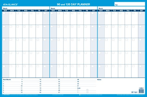 At-A-Glance 90 And 120-Day Undated Horizontal Erasable Wall Planner, 36 X 24 Inches, Packaged Flat (Pm239B-28)