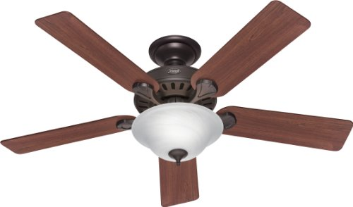Hunter 28724 Pro's Best 52-Inch 5-Blade Single Light Five Minute Ceiling Fan, New Bronze with Dark Cherry/Medium Oak Blades