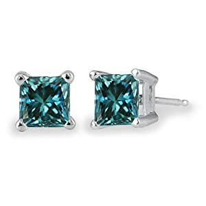 PARIKHS Princess Cut Blue Diamond Stud AAA Quality in White Gold (1.00ct)
