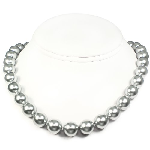 Mother of Pearl Necklace - High Polished Silver Gray (12mm)