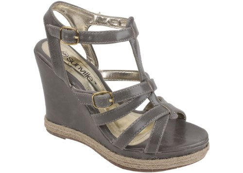 New Women'S Gray Open-Toe Wedge Sandals With Criss-Cross Straps Size 10 front-875190