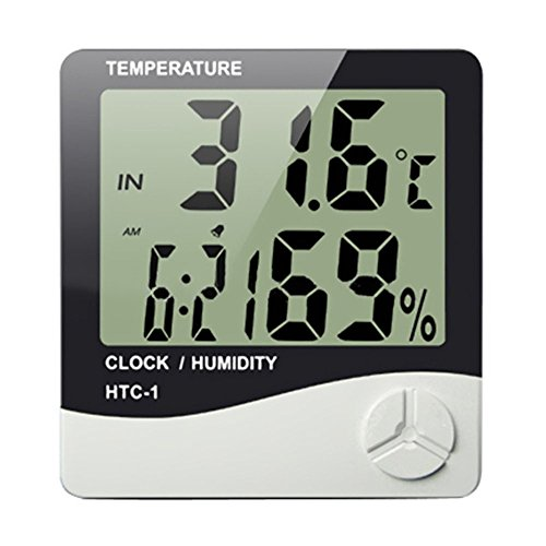 Toloyo デジタル温湿度計 高精度 液晶大画面表示 温度湿度時刻表示 置き掛け壁掛け兼用 室内用(HTC-1)