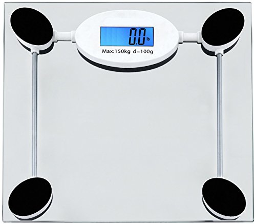 Utopia Scales USJK-B01-1 Tempered Glass Digital Bathroom Scale with LCD Display (Clear), 330 lb. Capacity, Perfect for Weight Regulation at Home or In the Gym, Fits Easily Beneath Bathroom Counter, Easy to Clean