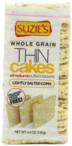 Suzies Whole Grain Thin Cakes, Lightly Salted Corn, 4.6-Ounce Boxes (Pack of 6)
