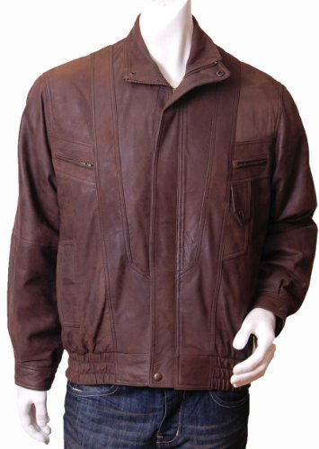 Mens Classic Leather Blousen Jacket Robert brown Gents Classic Bomber Leather Jacket (XL)