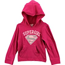 "DC Comics Supergirl ""Glitter Shield"" Pink Kids Hoodie T-shirt Hooded Tee (6)"