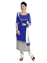 Metroz Women's Royal Blue Colored Georgette Dress Material with Dupatta