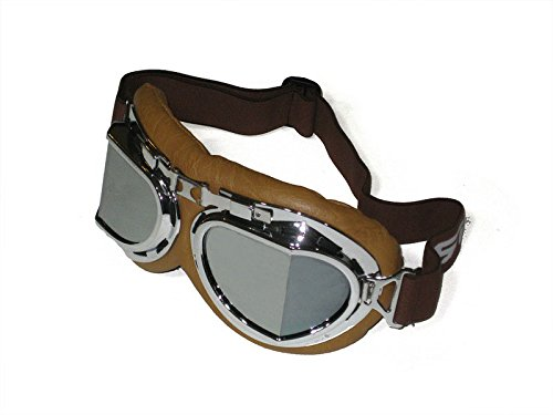 CRG Sports Vintage Aviator Pilot Style Motorcycle Cruiser Scooter Goggle T08 T08SSN Silver lens, silver frame, brown padding 1