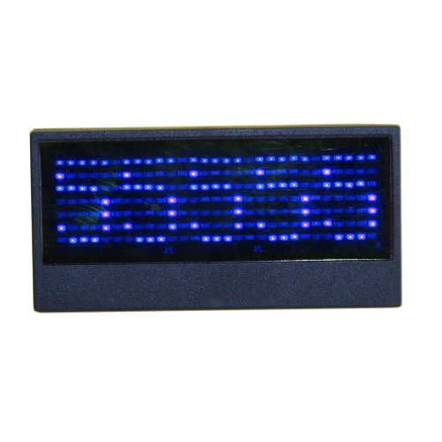 7X 29 Pixels Programmable Rechargeable Led Name Tag Message Badge Fashion Wedding Brooch (Blue)
